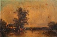 vaches à l'étang by leon victor dupré