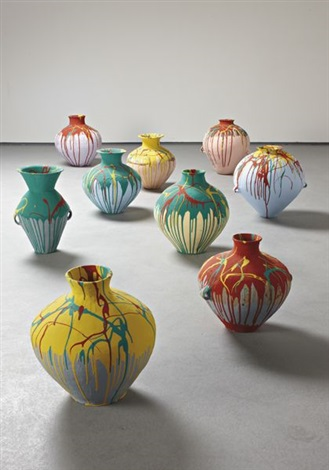 nine colored pots by ai weiwei