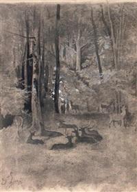 cerfs dans un sous bois by gustave doré