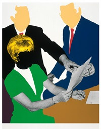 three government personnel (one blonde) considering and/or deciding by john baldessari