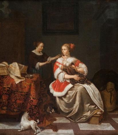 jeune femme tenant un enfant sur ses genoux avec sa suivante dans un intérieur by pieter cornelisz van slingeland