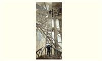 l'exposition universelle de 1889 : les travaux de la tour eiffel. la grande echelle by henri lanos