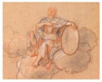 figure plafonnante tenant un bouclier by antoine coypel
