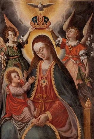 maria mit kind von zwei engeln gekrönt darüber die hl geist taube by austrian school 17