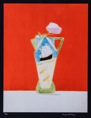 still life on vermillion by craigie aitchison