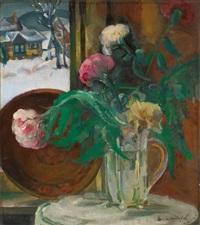 still life with flowers in winter by boris izrailovich anisfeld