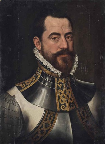 portrait of a gentleman bust length in armour by flemish school 16
