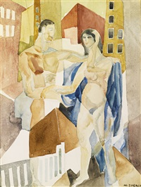 a couple in a cityscape by marguerite thompson zorach