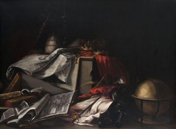 nature morte aux livres et aux attributs du pouvoir ecclésiastique by juan de valdés leal