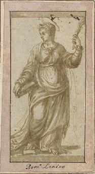 une martyre tenant un livre, regardant vers la gauche by girolamo da treviso the younger