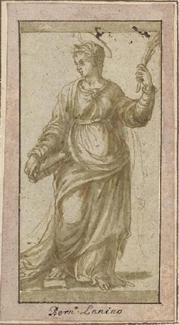 une martyre tenant un livre regardant vers la gauche by girolamo da treviso the younger