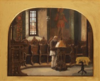 peasant man in the chruch by ludovic bassarab