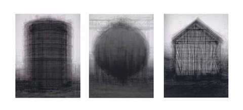 every bernd and hilla becher prison type gasholders in 3 parts by idris khan
