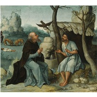 saint anthony and saint paul the hermit in a landscape by dutch school-southern (16)