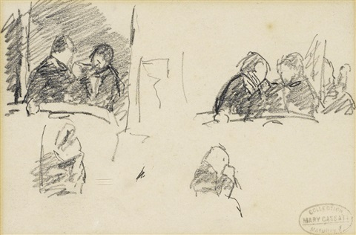 femme assise de profil (+ 2 others, various sizes; 3 works) by mary cassatt
