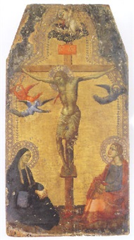 the crucifixion with the madonna and saint john the evangelist by agnolo di taddeo gaddi