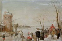 a winter landscape with kolf players by barent avercamp