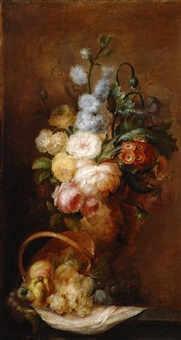 floral still life by ange louis guillaume lesourd-beauregard