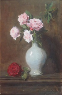 still life of pink roses in a vase by archibald david reid