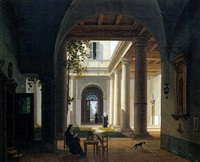 interno di un monastero con macchiette by giovanni battista dell' acqua