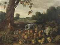 a park landscape with a parrot, a lapwing, and various other birds, apples, pears, grapes, walnuts, figs and a melon on the ground by dutch school-southern (17)