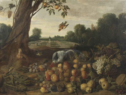 a park landscape with a parrot a lapwing and various other birds apples pears grapes walnuts figs and a melon on the ground by dutch school southern 17