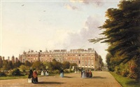 hampton court palace, with elegant company promenading in the foreground by george hilditch