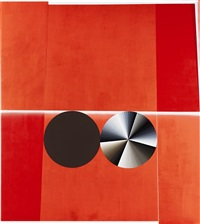 double circle no.1 (red, brown, white, grey, partial eclipse) by garth weiser