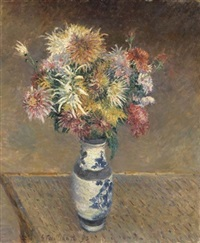 chrysanthèmes dans un vase by gustave caillebotte