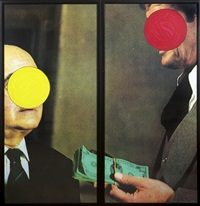 money with space between dyptique by john baldessari