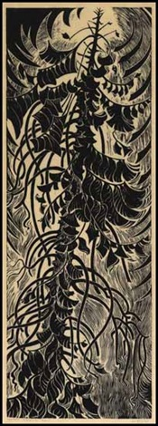 western red cedar: the passage of time (black) by sybil andrews