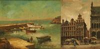 l'entrée du port de douarnenez et la grand place de bruxelles (2 works) by simone lienard