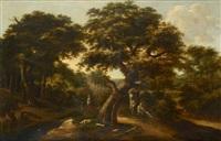 sous-bois traversé par un cours d'eau avec un colporteur endormi sous un arbre by salomon rombouts