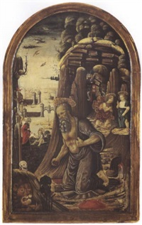 the penitent saint jerome with the christ child, saints   john the baptist and augustine by jacopo del sellaio