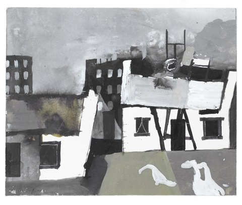 cottages with geese by keith vaughan