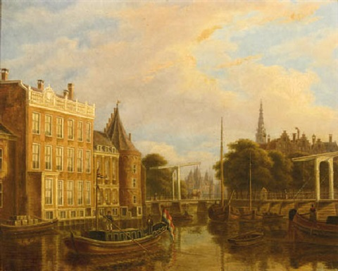 a view of the river amstel with the nieuwmarkt and oude kerk, amsterdam by augustus wijnantz