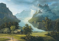 der grindelwaldgletscher mit den fieschhörnern und dem hörnligrat (the glacier of grindelwald with mountain peaks fieschhörner and hörnligrat) by johann heinrich bleuler the elder