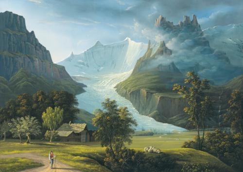 der grindelwaldgletscher mit den fieschhörnern und dem hörnligrat (the glacier of grindelwald with mountain peaks fieschhörner and hörnligrat) by johann heinrich bleuler the elder