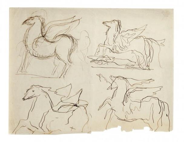 studi per cavallo alato by lucio fontana