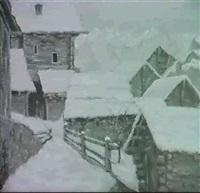 verschneites bergdorf by alfred aellig