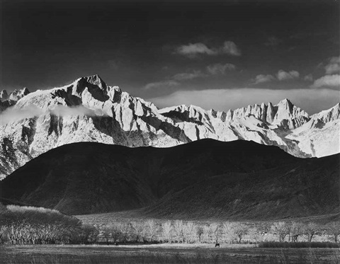 winter sunrise sierra nevada from lone pine california by ansel adams