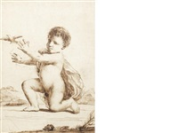 nude infant (the christ child?), kneeling on the ground, releasing a bird by guercino