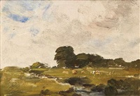 landscape with a stream and cattle by nathaniel hone the younger