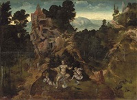 a mountainous landscape with leda and her hatchlings, saint antony abbot and the centaur beyond by jan van (brunswich monogrammist) amstel