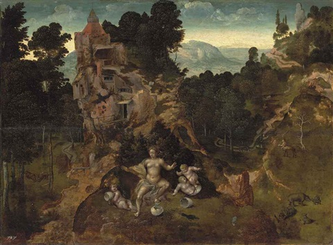 a mountainous landscape with leda and her hatchlings saint antony abbot and the centaur beyond by jan van brunswich monogrammist amstel