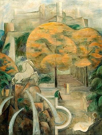 stadtansicht mit park (+ selbstbildnis, zeichnend, verso) by friedrich (fritz) ahlers-hestermann