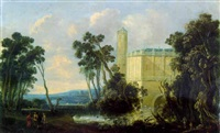 an extensive landscape with a moated castle and figures on a path by jacob van geel