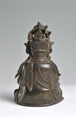 a seat ed bronze figure of guanyinbrming dynasty turn of the 17th century height 205 cm