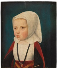 portrait of an infant princess, bust length, probably the archduchess isabella, daughter of phillip the fair and sister of charles v by master of the magdalen legend