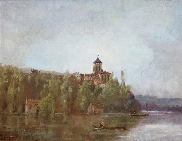 paysage de rivière avec barque près de léglise by paul désiré trouillebert